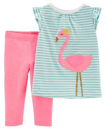 Carter's 2-Piece Flamingo Top & Capri Legging Set - Blue Pink