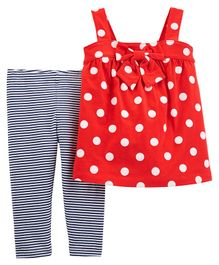 Carter's 2-Piece Polka Dot Tank & Striped Legging Set - Red