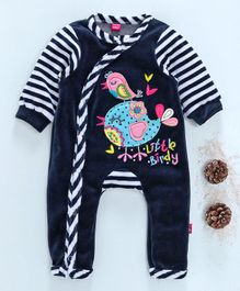Wow Girl Full Sleeves Bird Patch Striped Romper - Navy Blue