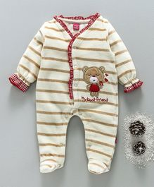 Wow Girl Full Sleeves Striped Footed Romper Teddy Bear Patch - Beige & Red