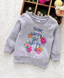 Babyhug Full Sleeves Sweatshirt Graphic Print With 3D Flowers Applique - Grey