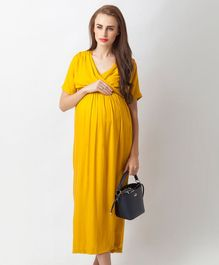 Blush 9 Overlapping Maxi Maternity And Nursing Dress - Yellow