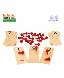 Eduedge Wooden Numerical Peg Boards Educational Toy - Red