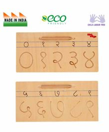 Eduedge Wooden Marathi Number Writing Game - Brown