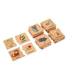 Eduedge Wooden Animal  Food Matching Educational Toy - Multicolor