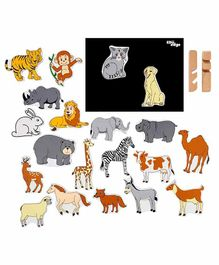 Eduedge Wooden Magnetic Animals Cut Outs Pack of 20 - Multicolour