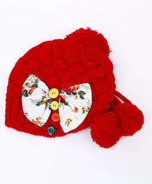 Flaunt Chic Winter Woolen Bow & Buttons Cap - Red