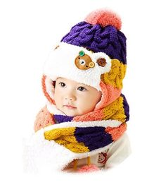 Flaunt Chic Winter Woolen Plush Cap With Scarf - Purple
