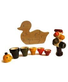 Aatike Wooden Tree Stacker Jackpot & Duck Puzzle - Multi Colour