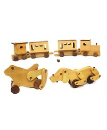 Aatike Wooden Doggy Frog & Train Beige - Pack of 4