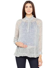 Oxolloxo Maternity Wear Full Sleeves Top Animal Print - Off White