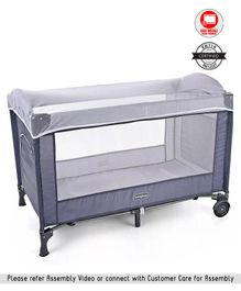 Babyhug My Space Playpen With Removable Mosquito Net - Grey