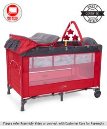 Babyhug Active Baby 3 in 1 Playpen Cum Cot With Diaper Changing Table & Mosquito Net - Red Grey