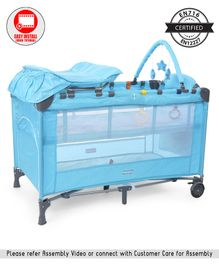 Babyhug Active Baby 3 in 1 Playpen Cum Cot With Diaper Changing Table & Mosquito Net - Blue