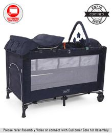 Babyhug Active Baby 3 in 1 Playpen Cum Cot With Diaper Changing Table & Mosquito Net - Navy Blue
