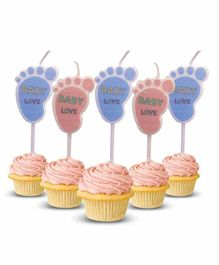Amfin Baby Shower Foot Print Shape Candles Pink & Blue - Pack of 5