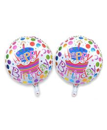 Amfin Happy Birthday Round Balloons Multicolour - Pack of 2