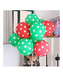 Amfin Balloons With Polka Dot Print Pack of 50 - Green Red