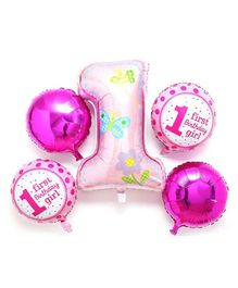 Amfin First Birthday Foil Balloons Pink - Pack of 5
