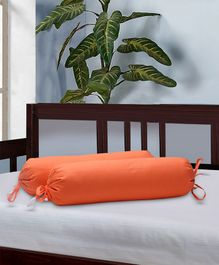 The Baby Atelier Bolster Cover With Fillers Solid Print - Orange