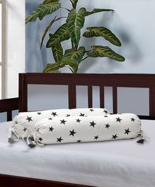 The Baby Atelier Bolster Cover With Fillers Star Print - Black & White