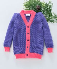 Little Angels Full Sleeves Sweater Half Diamond Design - Lavender & Fuschia