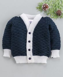 Little Angels Full Sleeves Sweater Half Diamond Design - Navy Blue