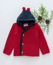 Little Angels Full Sleeves Hooded Sweater - Red Navy Blue