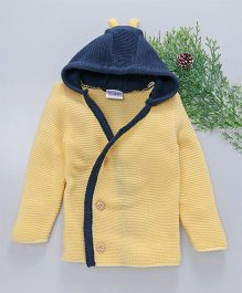 Little Angels Full Sleeves Hooded Sweater - Yellow