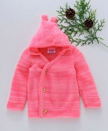 Little Angels Full Sleeves Hooded Sweater - Pink