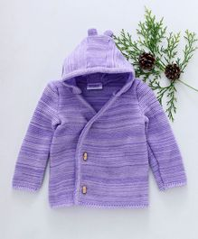 Little Angels Full Sleeves Hooded Sweater - Purple