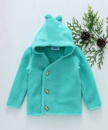 Little Angels Full Sleeves Hooded Sweater - Sea Green