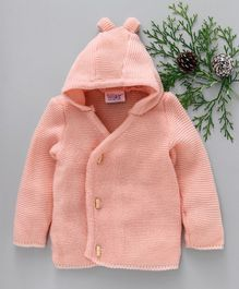 Little Angels Full Sleeves Hooded Sweater - Peach