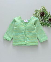 Little Angels Full Sleeves Stripe Sweater With Pearl Buttons  - Green