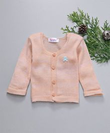 Little Angels Full Sleeves Sweater With Pearl Buttons - Peach