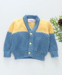 Little Angels Full Sleeves Dual Colour Sweater - Blue Yellow