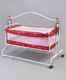 New Natraj Compact Cradle With Mosquito Net Bear Print Red