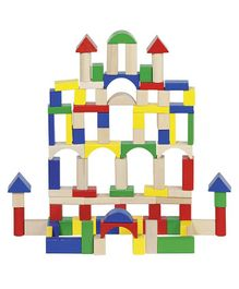 Goki Wooden Blocks Set Multicolour - 100 pieces