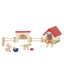 Goki Wooden Pet House Set - Multicolour