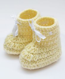 Love Crochet Art Lace Design Booties - Beige