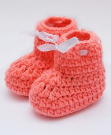 Love Crochet Art Lace Design Booties - Orange