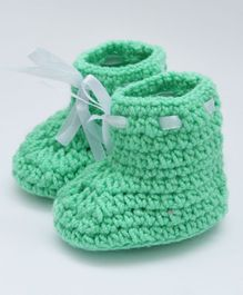 Love Crochet Art Lace Design Booties - Green