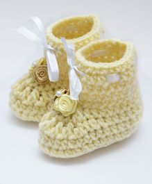 Love Crochet Art Handmade Knit Booties - Beige