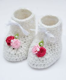 Love Crochet Art Booties With Flowers Applique - Pink & Red