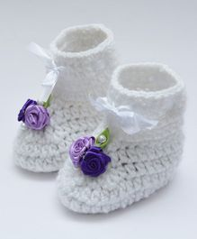 Love Crochet Art Booties With Flowers Applique - Purple
