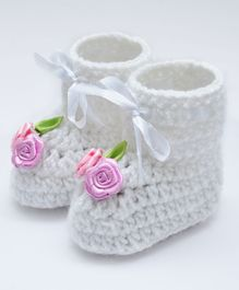 Love Crochet Art Booties With Flowers Applique - Pink