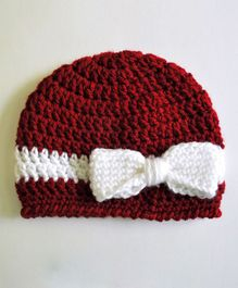 Love Crochet Art Cap With Bow Applique - Red
