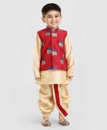 Little Aryan Full Sleeves Kurta Dhoti & Embroidered Jacket - Maroon