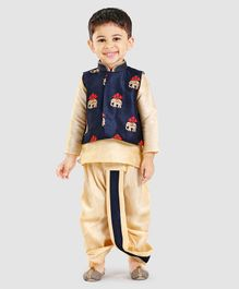 Little Aryan Full Sleeves Kurta And Dhoti With Jacket Elephant Embroidery - Navy Blue Golden
