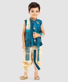 Little Aryan Sleeveless Kurta And Dhoti With Dupatta Camel Embroidery - Cream Blue